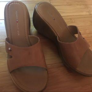 Tommy Hilfiger Leather Clog Mule Wedge Sandals